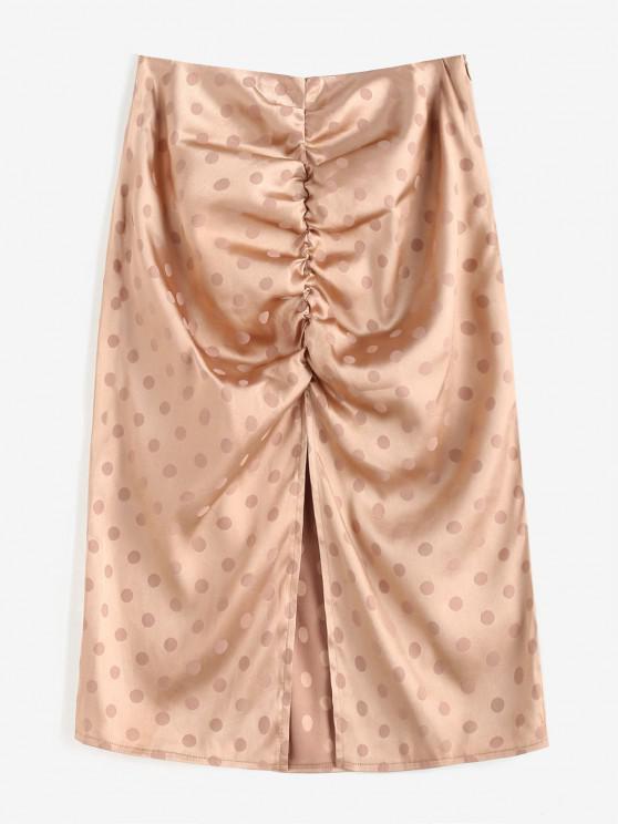 unique Polka Dot Ruched Slit Skirt - LIGHT COFFEE S
