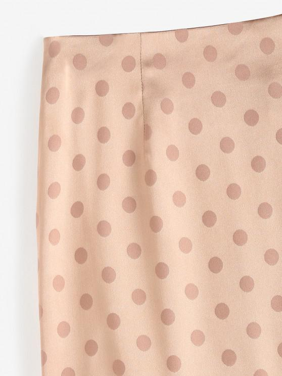 Polka Dot Ruched Slit Skirt - Light Coffee M | ZAFUL