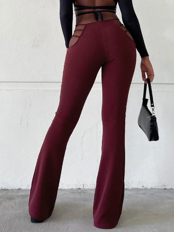 hot Ladder Cutout Waist Textured Bootcut Pants - RED WINE L