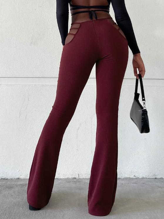 Ladder Cutout Waist Textured Bootcut Pants - نبيذ احمر M