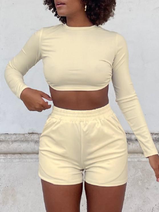 trendy Cutout Back Long Sleeve Two Piece Shorts Set - LIGHT COFFEE M