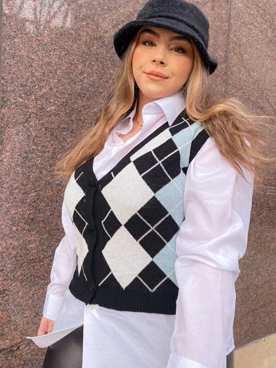 fancy ZAFUL Plus Size V Neck Argyle Pattern Sweater Vest - BLACK L