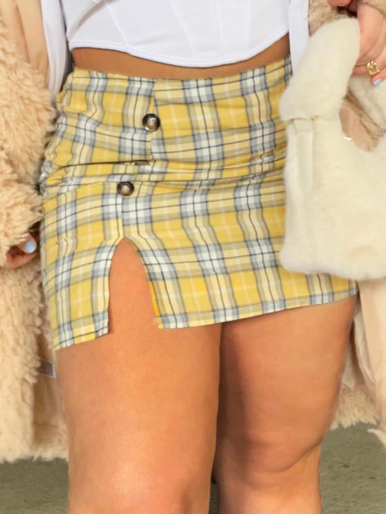 unique Plus Size Checked Buttoned Pelmet Skirt - YELLOW 1XL