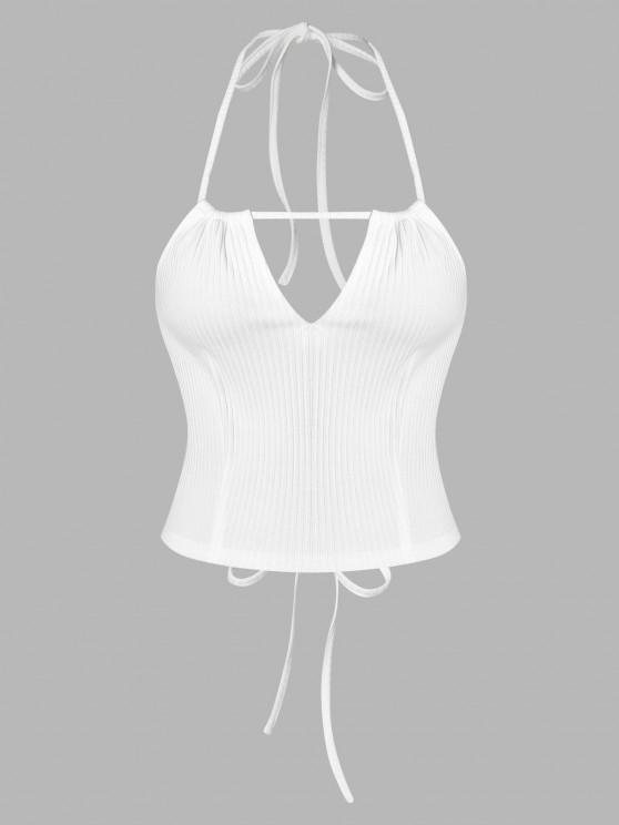 women's ZAFUL Halter Keyhole Lace Up Ribbed Crop Top - WHITE XL