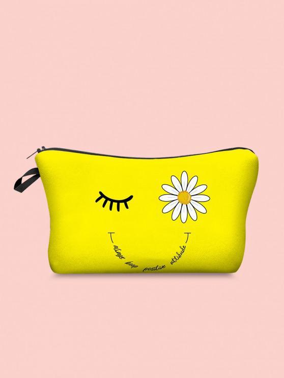 Bolso cosmético de la letra de la carta de la pestaña de Daisy - Amarillo