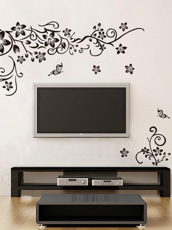 sale Butterfly Flower Vine Print Wall Stickers Set - BLACK 50X70CM