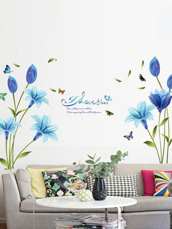affordable Blue Lily Print Wall Stickers Set - MULTI-A 60X90CM