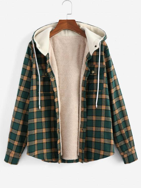latest ZAFUL Plus Size Hooded Plaid Fluffy Lined Jacket - GREEN XL