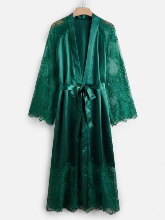 fashion Plus Size Lace and Satin Long Sleeve Robe - DEEP GREEN 3XL