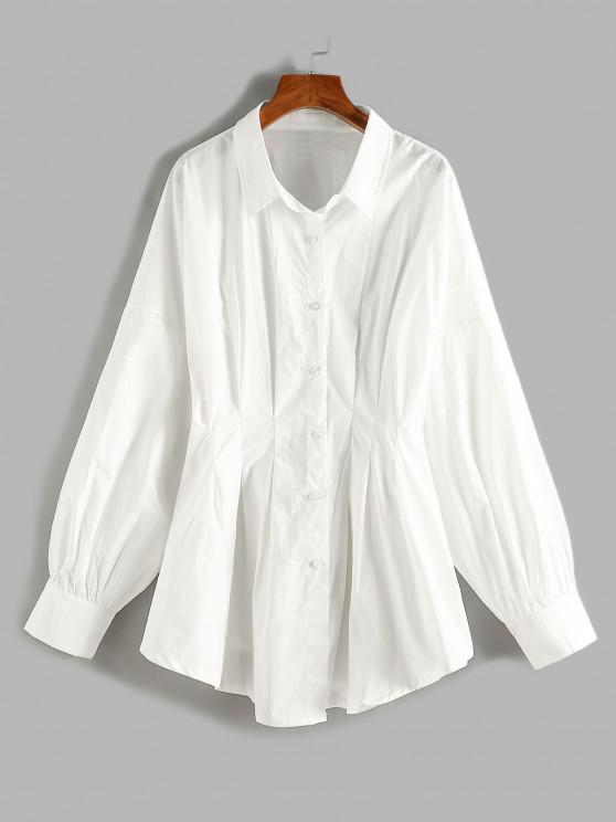 affordable Plus Size Pleated Waist Drop Shoulder Longline Shirt - WHITE 3XL