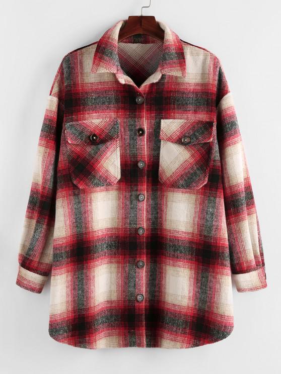 chic Plus Size Plaid Dual Pocket Drop Shoulder Jacket - LAVA RED 1X