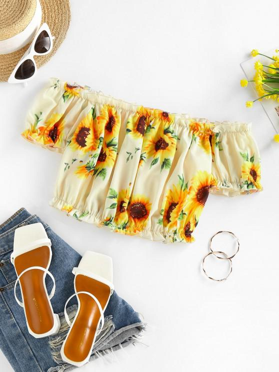 ZAFUL Ruched Sunflower Puff Sleeve Crop Blouse - متعدد XL