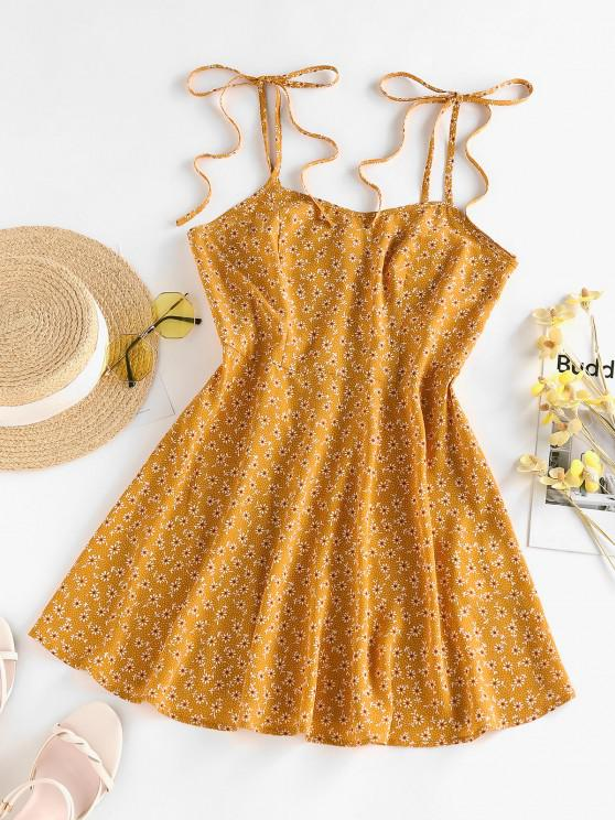 best ZAFUL Ditsy Floral Tie Shoulder Cami Sundress - DEEP YELLOW S