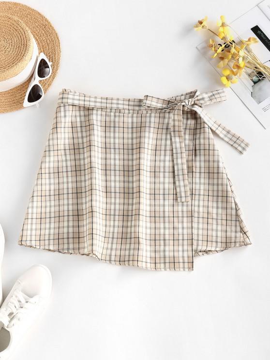 ZAFUL Plaid Side Tie Irregular Mini Wrap Skirt - القهوة الخفيفة S