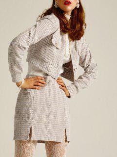Tweed M-slit Mini A Line Skirt - White S