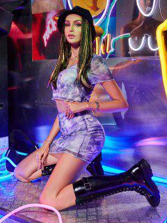 ZAFUL Mesh Ruched Renaissance Print Bodycon Skirt Set - Light Purple L
