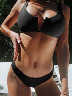 ZAFUL V Wired Low Waisted Tank Bikini Swimsuit - Black M