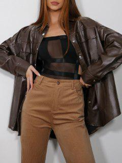 ZAFUL Button Up Faux Leather Shacket - Taupe S