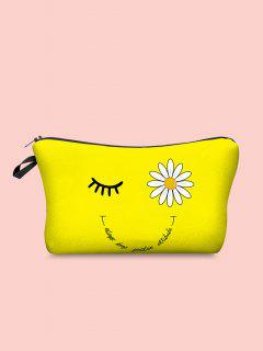 Daisy Eyelash Letter Print Cosmetic Bag - Yellow