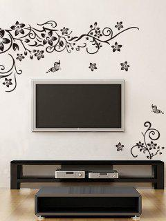 Butterfly Flower Vine Print Wall Stickers Set - Black 50x70cm