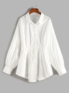 Plus Size Pleated Waist Drop Shoulder Longline Shirt - White 3xl