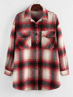 Plus Size Plaid Dual Pocket Drop Shoulder Jacket - Lava Red 1x