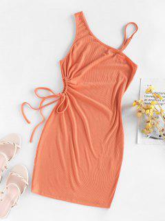 ZAFUL Ribbed Skew Neck Drawstring Hollow Out Dress - Orange M