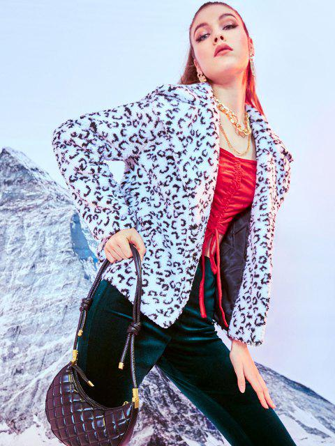 Leopard Lapel Teddy Coat - أسود L Mobile