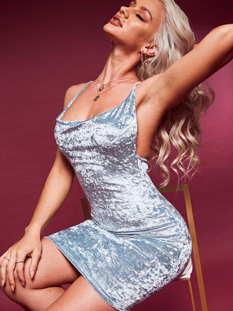 Bodycon Vorder Samt Kleid mit Kapuze - Baby Blau L Mobile