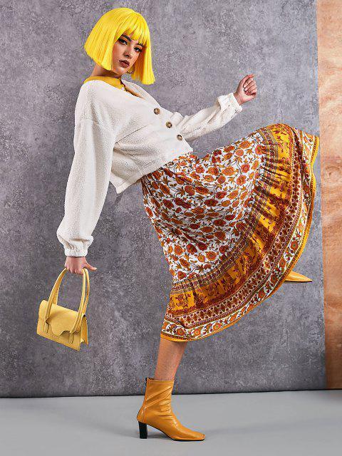 chic Bohemian Floral Drawstring Maxi Skirt - YELLOW L Mobile