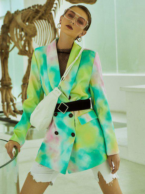 outfits Tie Dye Pocket Double Breasted Blazer - LIGHT GREEN M Mobile