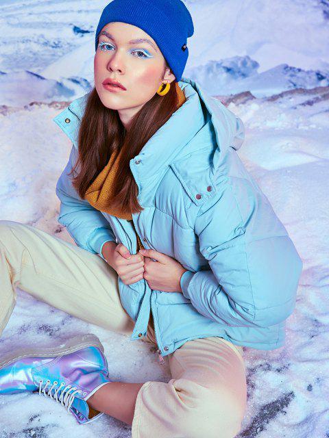 lady Hooded Raglan Sleeve Pocket Zip Puffer Coat - LIGHT BLUE S Mobile