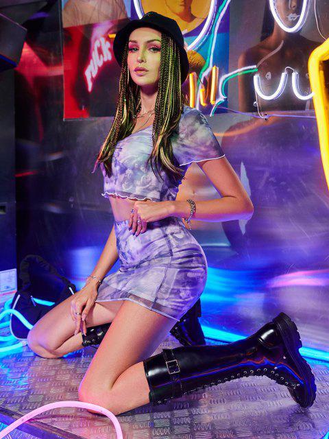 sale ZAFUL Mesh Ruched Renaissance Print Bodycon Skirt Set - LIGHT PURPLE M Mobile