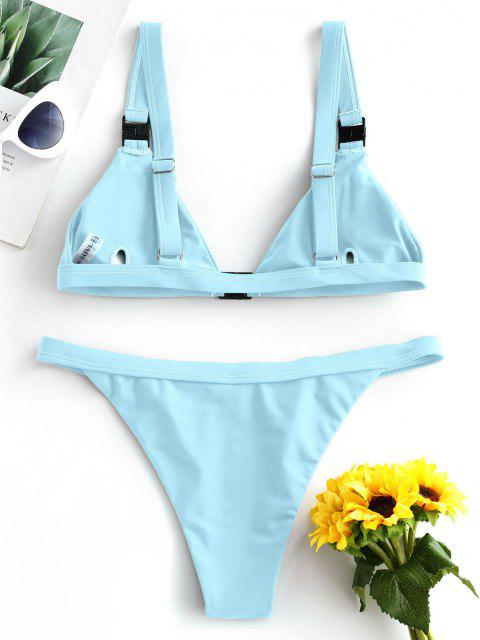 ZAFUL Maillot de Bain Bikini Plongeant Fermeture en Avant - Bleu clair S Mobile