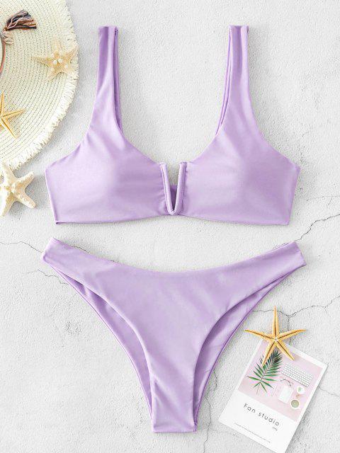 ZAFUL Ensemble de Bikini Débardeur à Taille Basse à Armature en V - Violet clair L Mobile