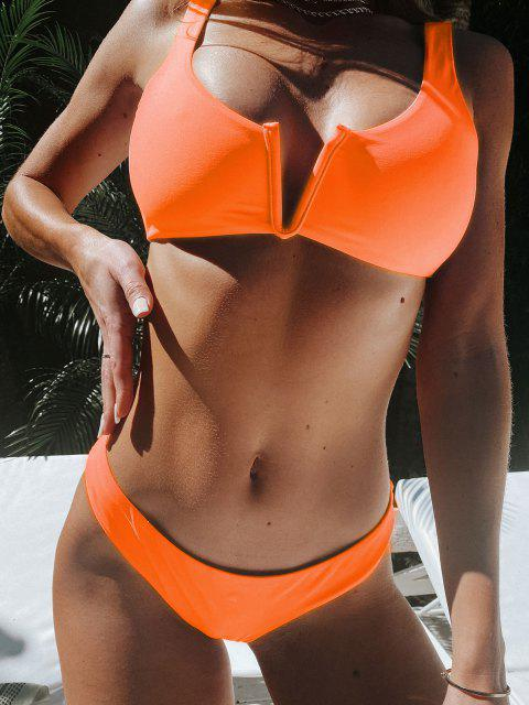 fashion ZAFUL V Wired Low Waisted Tank Bikini Swimsuit - ORANGE S Mobile