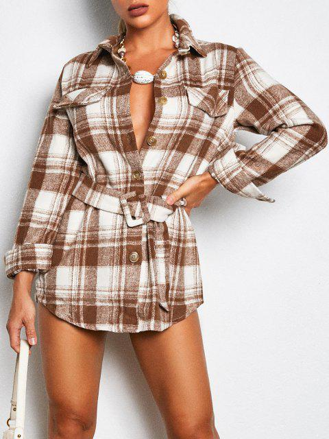 ladies Flap Detail Plaid Belted Mini Dress - COFFEE L Mobile