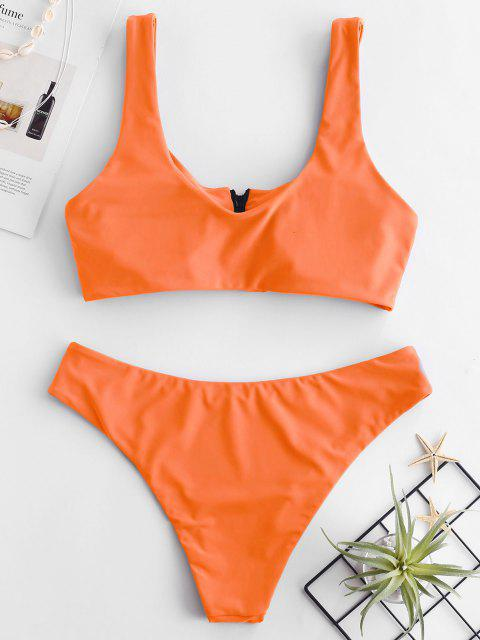 ladies ZAFUL Zip Front Tank Bikini Set - MANGO ORANGE L Mobile