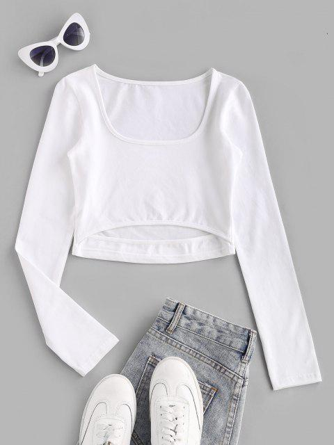best Cutout Basic Long Sleeve Baby Tee - WHITE S Mobile