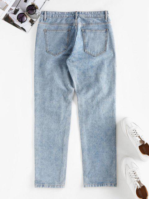 unique Ripped High Waisted Stovepipe Jeans - LIGHT BLUE M Mobile