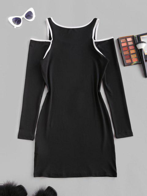 Vestito a Fascia con Maniche Lunghe e Spalle Scoperte - Nero S Mobile