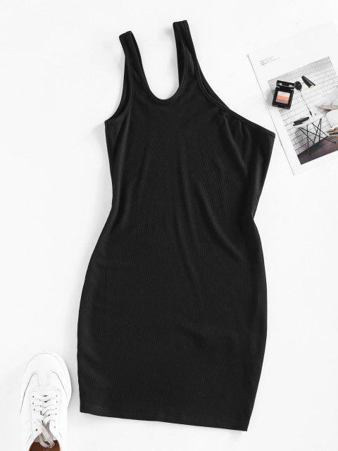 outfits ZAFUL Ribbed One Shoulder Cutout Bodycon Dress - BLACK S Mobile