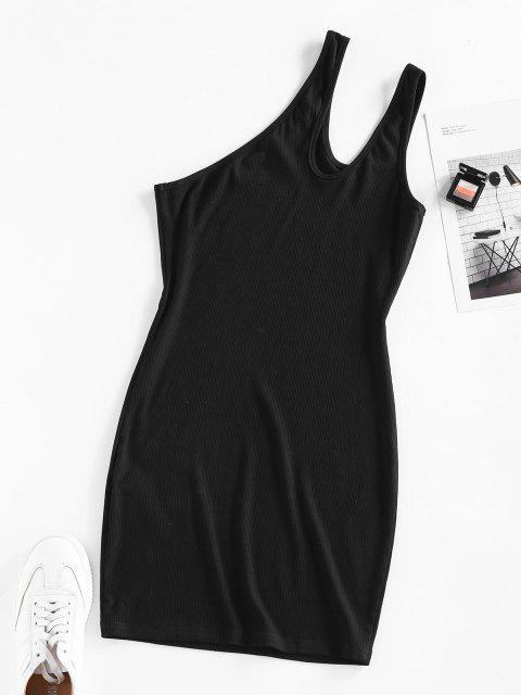 outfit ZAFUL Ribbed One Shoulder Cutout Bodycon Dress - BLACK M Mobile