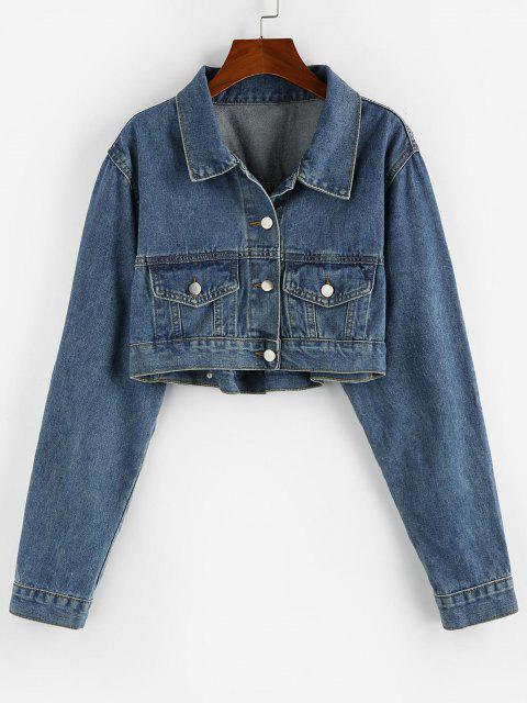 Pockets Short Denim Jacket - أزرق L Mobile