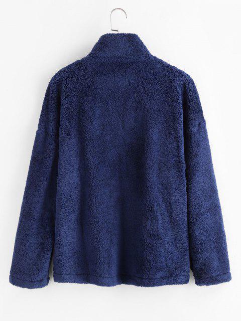 Abrigo Mullido de Panel con Bolsillo y Estampado de Leopardo - Azul Profundo M Mobile