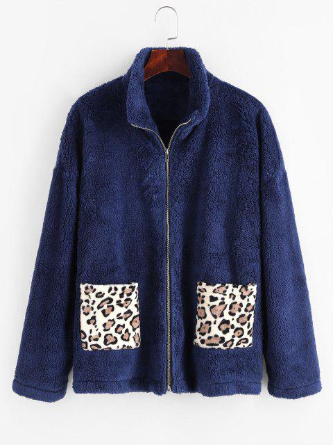 Dual Pocket Leopard Panel Fluffy Coat - ازرق غامق M Mobile