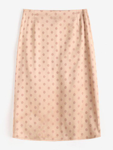 Polka Dot Ruched Slit Skirt - القهوة الخفيفة L Mobile