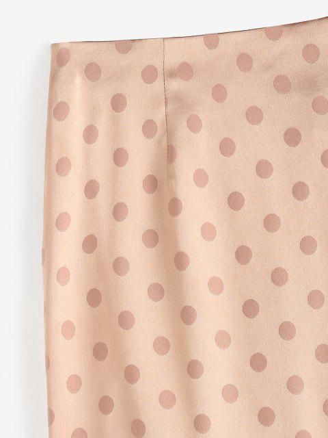 outfit Polka Dot Ruched Slit Skirt - LIGHT COFFEE L Mobile