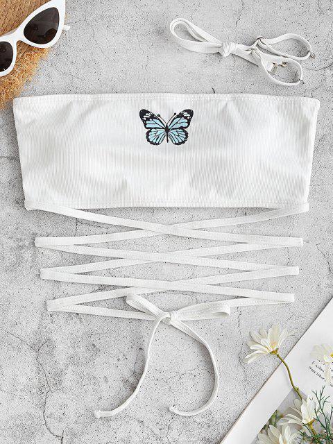 ZAFUL Ribbed Butterfly Print Criss Cross Swim Top - أبيض S Mobile