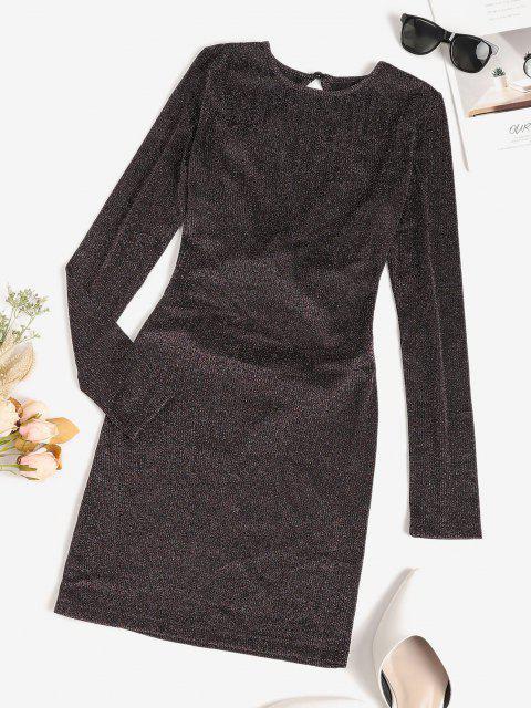 ladies Metallic Thread Criss Cross Open Back Bodycon Dress - DEEP COFFEE S Mobile